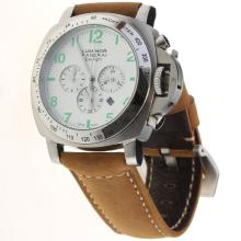 Panerai Luminor Daylight Working Chronograph with White Dial-Leather Strap