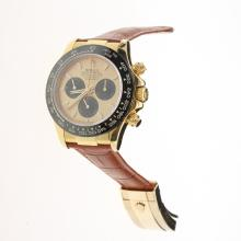 Rolex Daytona Chronograph Swiss Valjoux 7750 Movement Gold Case Ceramic Bezel Stick Markers with Golden Dial-Leather Strap-1