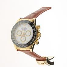 Rolex Daytona Chronograph Swiss Valjoux 7750 Movement Gold Case Ceramic Bezel Stick Markers with White Dial-Leather Strap