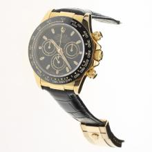 Rolex Daytona Chronograph Swiss Valjoux 7750 Movement Gold Case Ceramic Bezel Stick Markers with Black Dial-Leather Strap-1