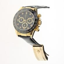 Rolex Daytona Chronograph Swiss Valjoux 7750 Movement Gold Case Ceramic Bezel Diamond Markers with Black Dial-Leather Strap
