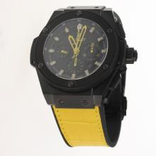 Hublot King Power Chronograph Swiss Valjoux 7750 Movement Ceramic Case Yellow Markers with Black Dial