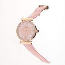 Cartier Classic Rose Gold Case Diamond Bezel with Pink Dial-Pink Leather Strap