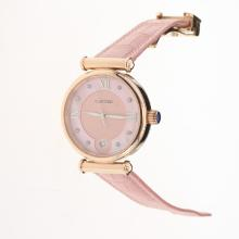 Cartier Classic Rose Gold Case with Pink Dial-Pink Leather Strap