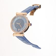 Cartier Classic Rose Gold Case Diamond Bezel with Blue Dial-Blue Leather Strap