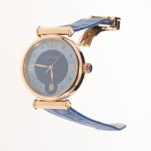 Cartier Classic Rose Gold Case with Blue Dial-Blue Leather Strap