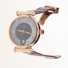 Cartier Classic Rose Gold Case with Black/Blue Dial-Purple Leather Strap