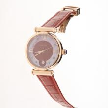 Cartier Classic Rose Gold Case with Red Dial-Red Leather Strap