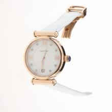 Cartier Classic Rose Gold Case with White Dial-White Leather Strap