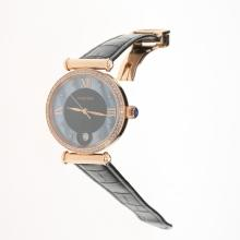 Cartier Classic Rose Gold Case Diamond Bezel with Black/Blue Dial-Black Leather Strap