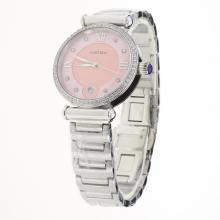 Cartier Classic Diamond Bezel with Pink Dial S/S