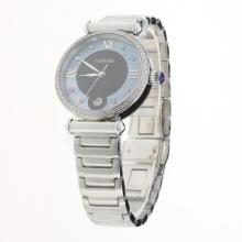 Cartier Classic Diamond Bezel with Black/Blue Dial S/S