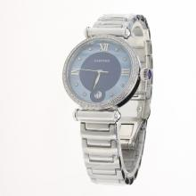 Cartier Classic Diamond Bezel with Blue Dial S/S
