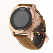 Panerai Luminor Rose Gold Case with Electronic Screen-Brown Leather Strap