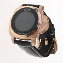 Panerai Luminor Rose Gold Case with Electronic Screen-Black Leather Strap