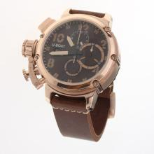 U-Boat Italo Fontana Working Chronograph Rose Gold Case with Brown Dial-Leather Strap