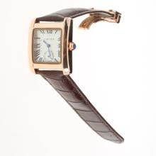 Cartier Tank Rose Gold Case White Dial with Brown Leather Strap-Lady Size