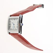 Cartier Tank White Dial with Red Leather Strap-Lady Size