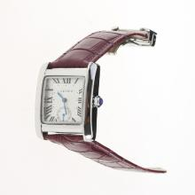 Cartier Tank White Dial with Purple Leather Strap-Lady Size