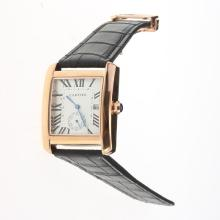 Cartier Tank Rose Gold Case White Dial with Black Leather Strap