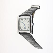 Cartier Tank White Dial with Black Leather Strap