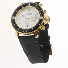 Blancpain Fifty Fathoms Working Chronograph Gold Case with White Dial-Nylon Strap