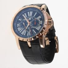 Roger Dubuis Excalibur Automatic Rose Gold Case with Black Dial-Leather Strap