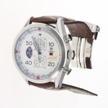 Tag Heuer Carrera Cal.1887 Working Chronograph with White Dial-Leather Strap