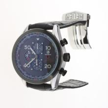 Tag Heuer Carrera Cal.1887 Working Chronograph with Black Dial-Leather Strap