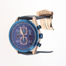 Tag Heuer Carrera Cal.1887 Working Chronograph Rose Gold Case with Blue Dial-Leather Strap