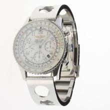 Breitling Navitimer Chronograph Swiss Valjoux 7750 Movement Number Markers with White Dial S/S-1