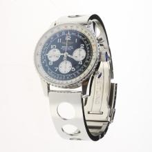 Breitling Navitimer Chronograph Swiss Valjoux 7750 Movement Number Markers with Black Dial S/S-1