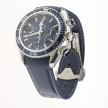 Omega Seamaster Chronograph Swiss Valjoux 7750 Movement with Blue Dial-Rubber Strap
