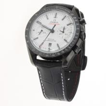 Omega Speedmaster Working Chronograph Swiss 9300 Automatic Movement Ceramic Case with White Dial-Leather Strap