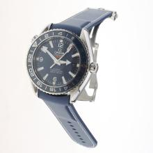 Omega Seamaster Co-Axial Working GMT Swiss CAL 8605 Movement Ceramic Bezel with Blue Dial-Rubber Strap-1