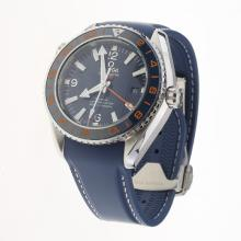Omega Seamaster Co-Axial Working GMT Swiss CAL 8605 Movement Ceramic Bezel with Blue Dial-Rubber Strap