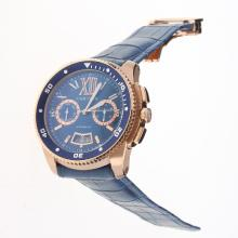 Cartier Calibre de Cartier Automatic Rose Gold Case with Blue Dial-Leather Strap