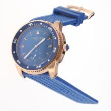 Cartier Calibre de Cartier Automatic Rose Gold Case with Blue Dial-Rubber Strap