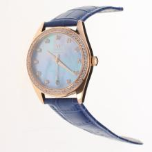 Omega Seamaster Swiss ETA 8500 Movement Rose Gold Case Diamond Bezel with Blue MOP Dial-Blue Leather Strap