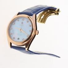 Omega Seamaster Swiss ETA 8500 Movement Rose Gold Case with Blue MOP Dial-Blue Leather Strap