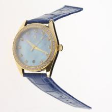 Omega Seamaster Swiss ETA 8500 Movement Gold Case Diamond Bezel with Blue MOP Dial-Blue Leather Strap