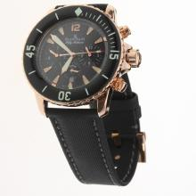 Blancpain Fifty Fathoms Automatic Rose Gold Case with Black Dial-Nylon Strap