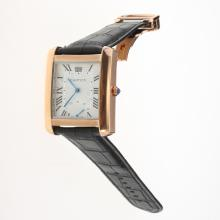Cartier Tank Rose Gold Case with White Dial-Leather Strap