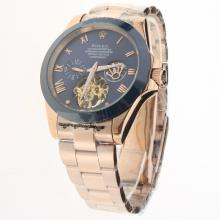 Rolex Oyster Perpetual Tourbillon Full Rose Gold Ceramic Bezel with Blue Dial