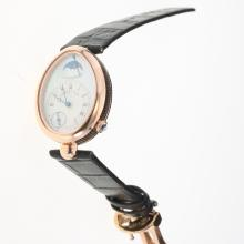 Breguet Reine de Naples Rose Gold Case with White Dial-Leather Strap-1