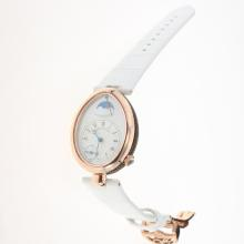Breguet Reine de Naples Rose Gold Case with White Dial-Leather Strap