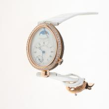 Breguet Reine de Naples Rose Gold Case Diamond Bezel with White Dial-Leather Strap