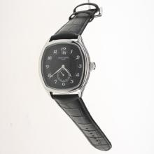 Patek Philippe Number Markers with Black Dial-Leather Strap