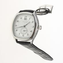 Patek Philippe Number Markers with White Dial-Leather Strap