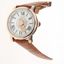 Cartier Rotonde de Cartier Automatic Rose Gold Case with White Dial-Leather Strap-1